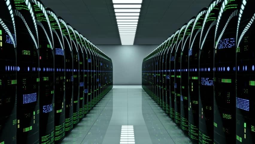 Futuristic server room. Dynamic focal length