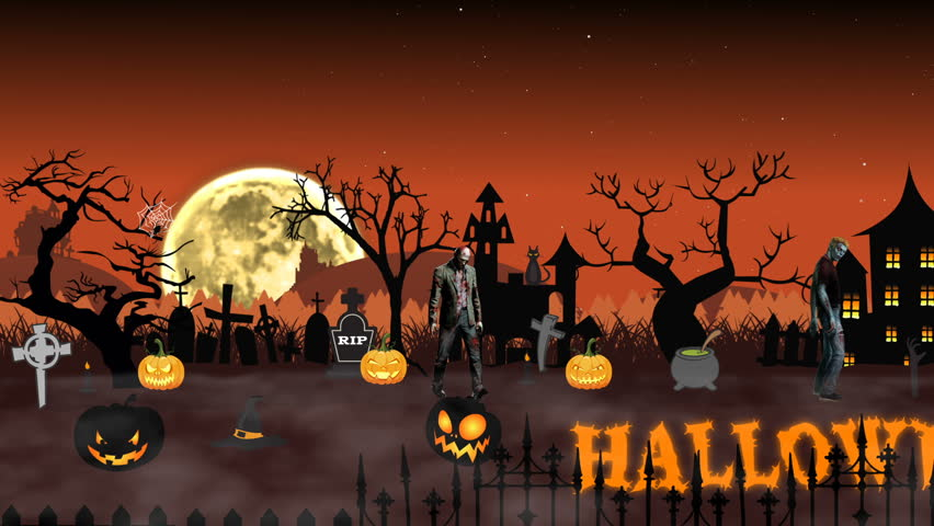 cartoon animation halloween scene with animated text halloween hd stock video clip - Halloween Background Video