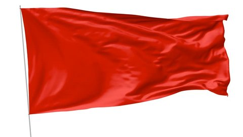 Blank plain red flag with flagpole waving in the wind, 3D animation with with luma matte alpha channel included