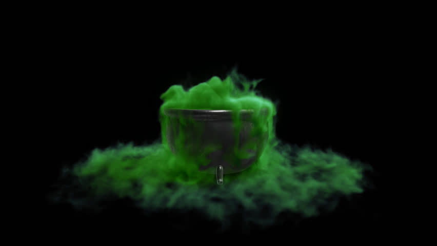 Cauldron witch with green liquid with an alpha channel