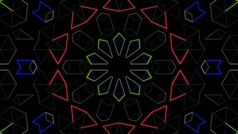 cg loop animation by geometric design pattern. for background, composing, vj, etc.