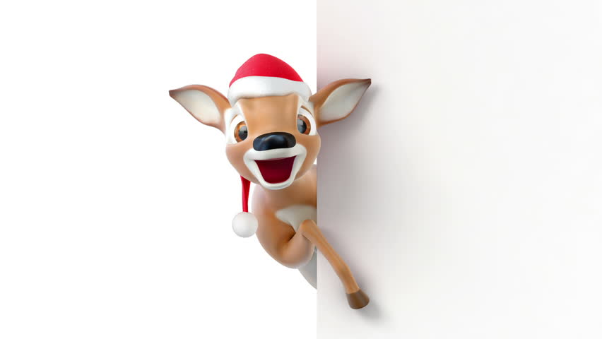 Cartoon deer in a hat of Santa Claus, 3d animation with an alpha matte