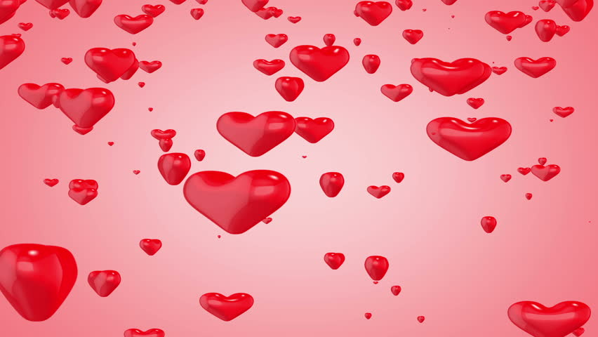 Red Hearts Floating Background. 3D Heart Shapes Flying. Valentine ...