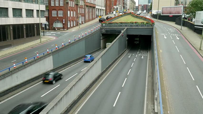 UK inner city traffic underpass. Queensway underpass in Birmingham, England. | Shutterstock HD Video #20300527