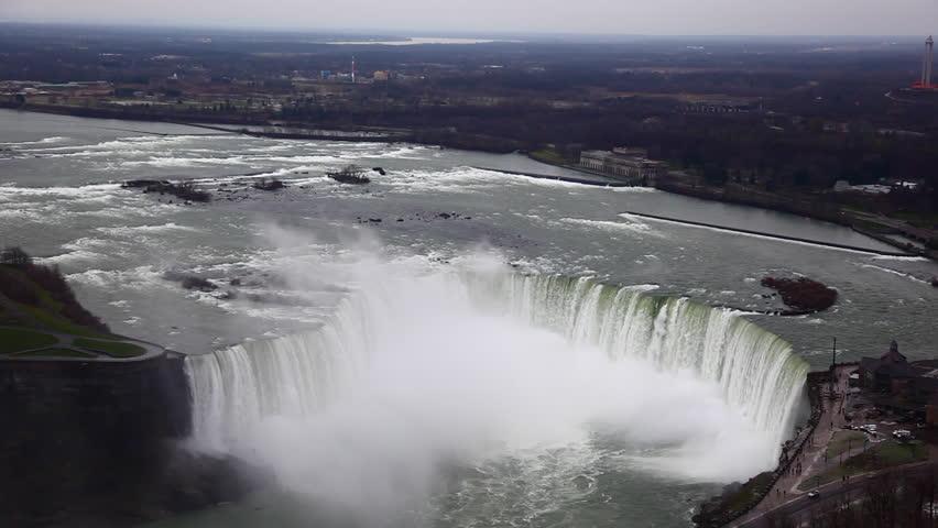 Aerial view of Horseshoe falls at Niagara falls.