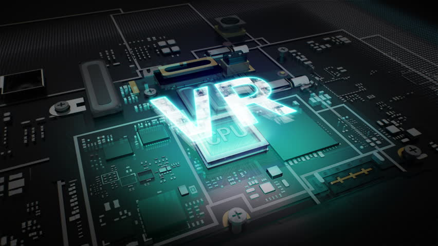 Hologram typo 'V R' on CPU chip circuit, grow artificial intelligence technology.