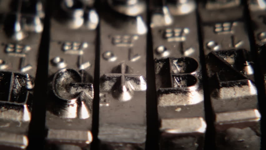 Typewriter. Typing. Metal types in close-up. Clip ID: type-detal-1_HD