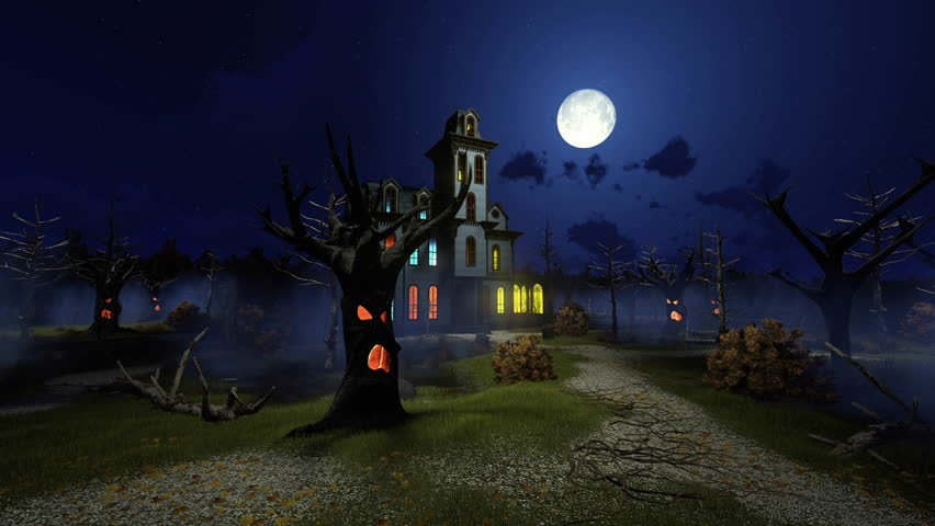 Scary haunted mansion with luminous windows among fantastic creepy trees at dark misty night with big moon. Decorative Halloween 3D animation rendered in 4K | Shutterstock HD Video #20344744