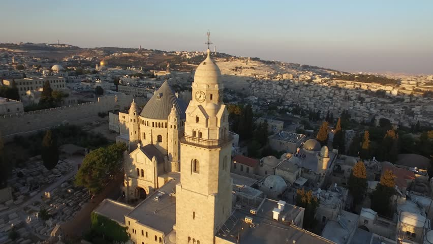 St. James Cathedral Church Aerial view of church in Jerusalem old city Israel Epic evening shot around St. James Cathedral Church with the jerusalem old city skyline in frame amazing christian shot!!!