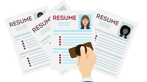 woman Job interview and recruitment business concept, holding resume and magnifying glass, girl cv Loop with alpha channel