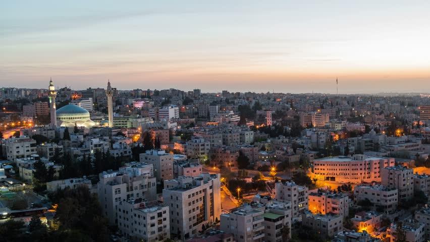 City Traffic Time Lapse Amman Jordan v119 Cityscape sunrise zooming time lapse of Amman.