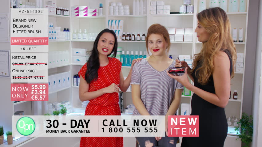 4K TV presenters on a shopping channel selling beauty products & talking to camera. Shot on RED Epic.