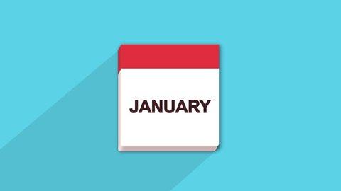 Nice animation of colorful year calendar with pages in motion of 12 months seamless loop with space for your text or logo, full hd and 4k. cartoon months names animation.