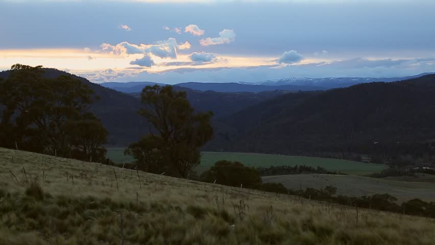 Sunset over the hills near Berridale and Dalgety in NSW, Australia.