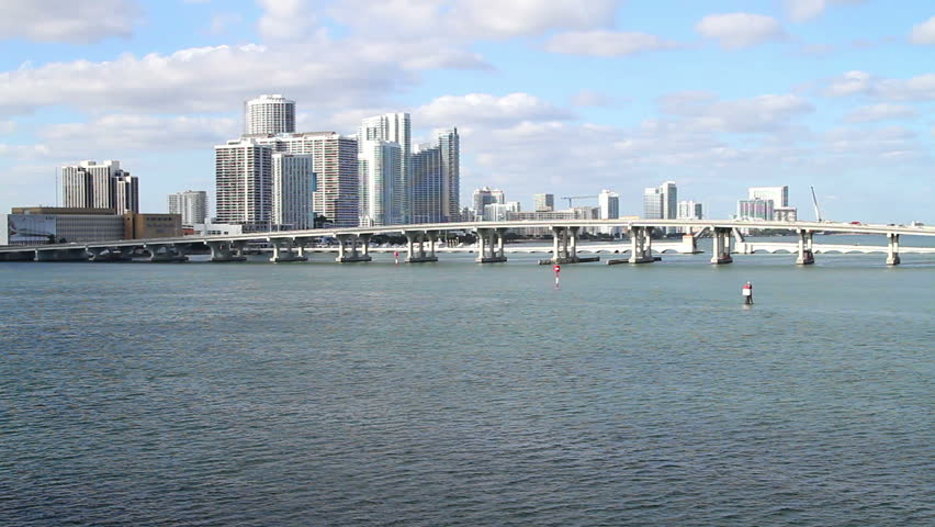 Cityscape, Miami skyline with bridge, from over the water angle