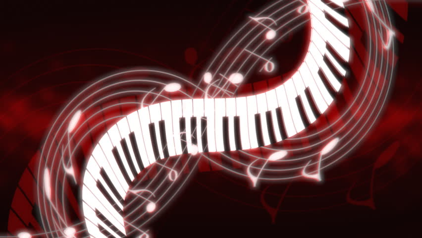 Music Notes and Keys Deep Red Hue Looping Animated Background
