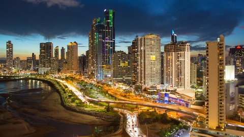 City skyline illuminated at night, Panama City, Panama, Central America (May 2016, Panama City, Panama)