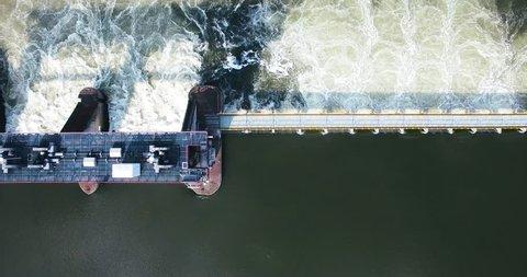 Drone footage of Dutch Delta Waterworks or Water lock