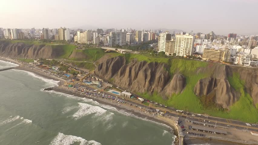 MIRAFLORES, LIMA, PERU: Panoramic view of Miraflores town in Lima, Peru.