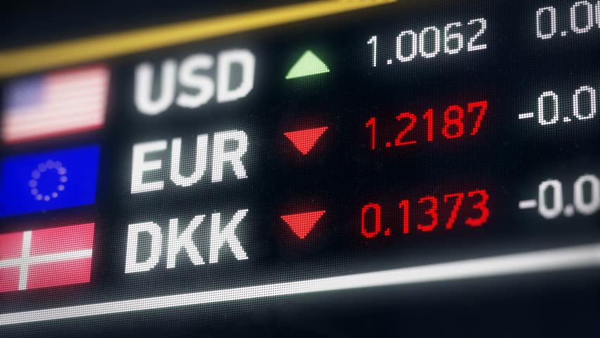 Danish Krone, US dollar, Euro comparison, currencies falling, financial crisis. World currencies plummet down, financial crisis, stock market crash | Shutterstock HD Video #20522044