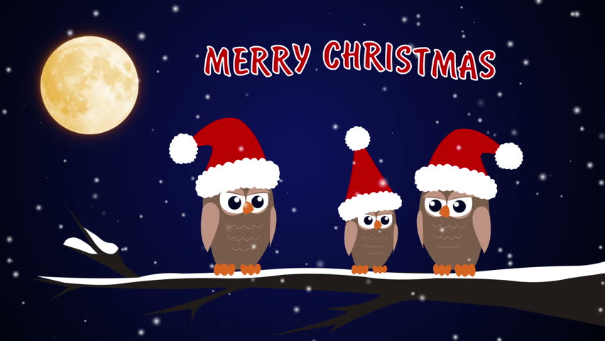 Merry christmas retro greeting animation santa claus and xmas footage merry christmas birds and caps hd stock footage clip m4hsunfo Images