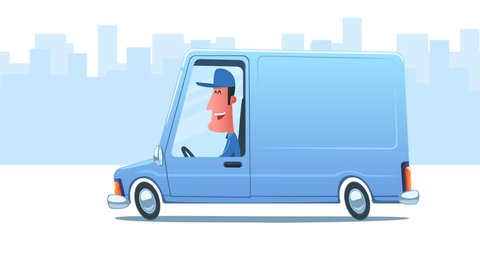 Man driving service van against the background of city. Looped 2D animation. Main composition. Enlarged truck on transparent background. Moving city background. PNG + Alpha. Just place your logo.