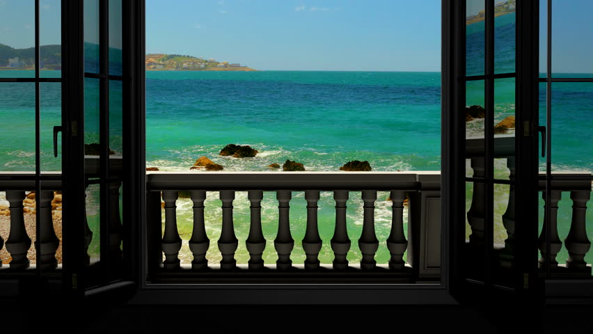 Looking out the window to the balcony and the sea | Shutterstock HD Video #20549884