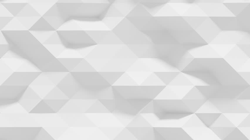 Abstract Polygonal Geometric Surface Loop 1A: clean soft low poly motion background of shifting pure bright white grey triangles, seamless loop 4K UHD, FullHD.  #20559346