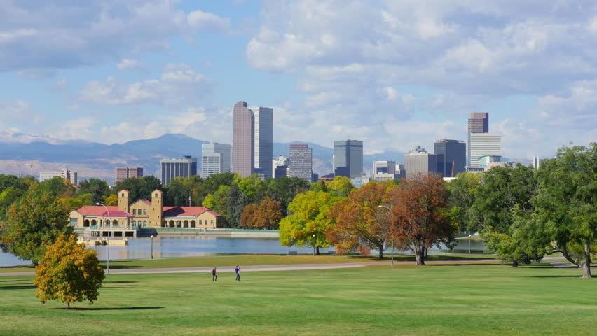 Denver Autumn Skyline Scenic Timelapse. 4K UHD time lapse.