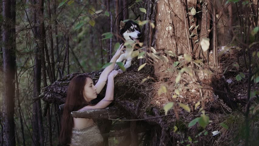 Young woman in wild clothes holding the wolf-looking dog on its paw | Shutterstock HD Video #20567014
