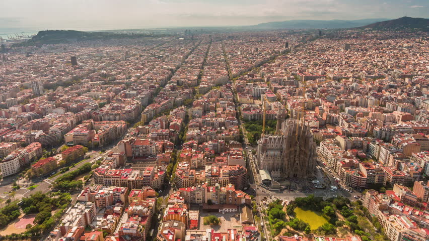 summer day barcelona cityscape aerial panorama 4k time lapse spain