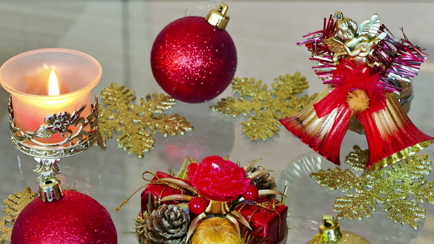 Beautiful ornaments and candles for New Year decoration, New Year and Christmas Decoration, 4 K Video Clip