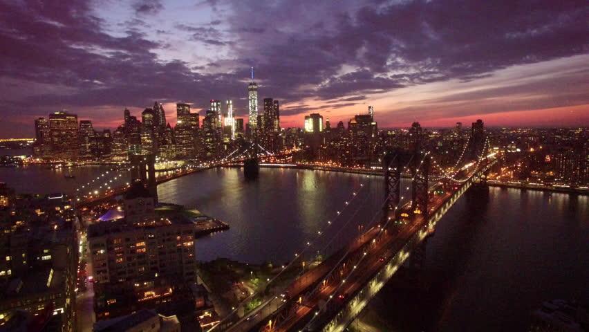 Descending view of Manhattan over bridge | Shutterstock HD Video #20638183
