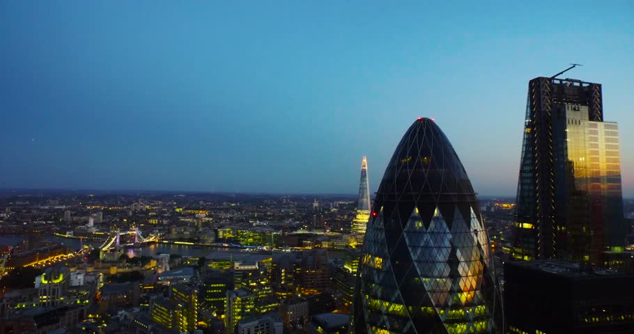 London, England; Skyline aerial drone footage.