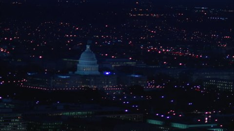 night Aerial over Washington DC, ing Capitol Building