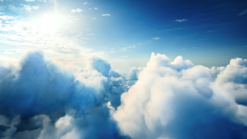 Flying over the timelapse clouds with the afternoon sun. Seamlessly looped animation. Flight through moving cloudscape with beautiful lens flare. Traveling by air. Perfect for cinema, background | Shutterstock HD Video #20803444