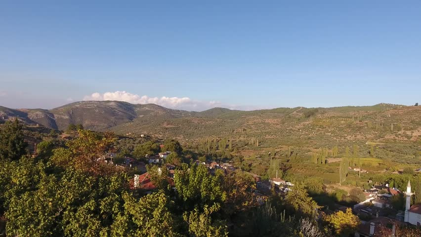 Historical White Houses, Sirince Village, Izmir Turkey. Aerial view drone shot.
