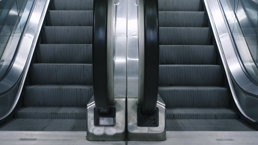 Close Up Shot Of Empty Moving Staircase Running Up And Down. Modern  Escalator Stairs, Which Moves Indoor. Stock Footage Video 20849134 |  Shutterstock