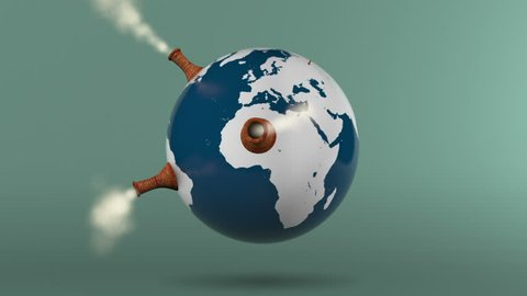 Global CO2 emissions: Smoke stacks pop up on a rotating globe filling the shot with smoke. (Play in reverse to imply reducing emissions)