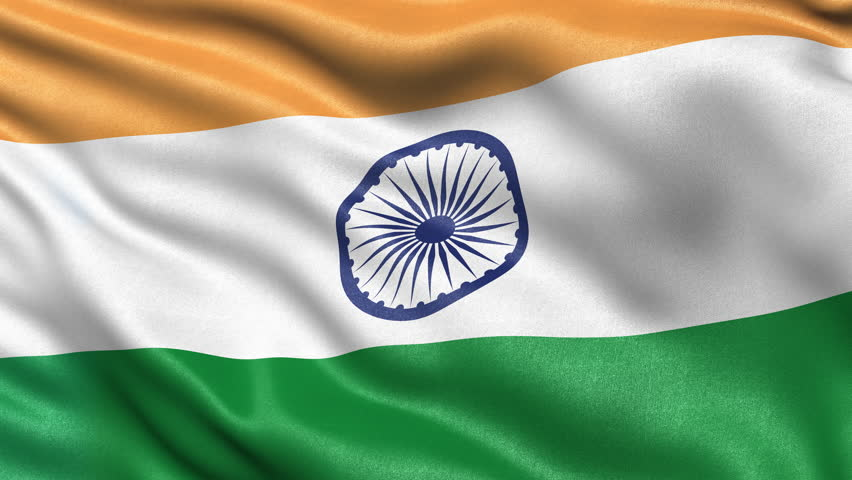 Seamless loop of India flag waving in the wind. Realistic loop with highly detailed fabric.