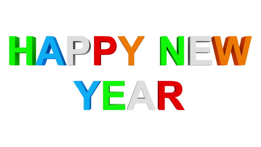 Happy new year - 30fps loop - randomized playful colorful letters 3d, loopable 0 - 2.5 seconds, with alpha matte | Shutterstock HD Video #20926744