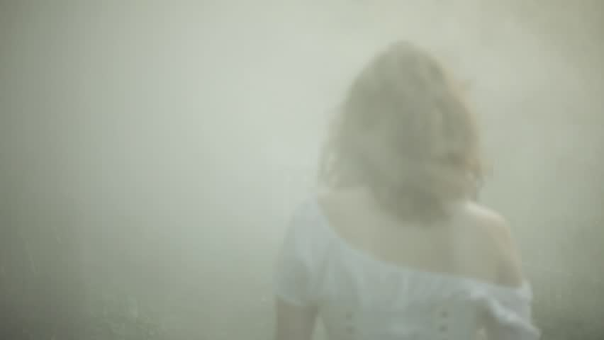 VIRGINIA - SUMMER 2016 - Reenactment, Recreation -- Ghostly, undead woman in smoky haunted garden outside.  Paranormal, poltergeist.  Mystery woman with pale pallor, 19th century clothing, flowing.   Shutterstock HD Video #20937334