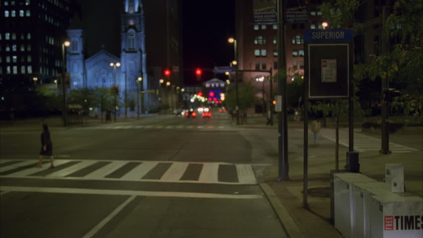 Night BUS HEIGHT Process Plate Straight Forward parked eastern city street downtown street then pulls away Makes Right turn pulls over bus stop then Pulls away | Shutterstock HD Video #20951344