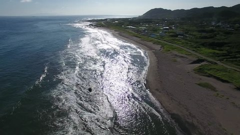 Aerial view of Shirahama shore, Minamiboso, Chiba, Japan