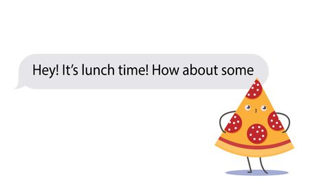 People discussing about food delivery using mobile messaging application and funny stickers. Cartoon 2D animation. PNG+Alpha. Just add your background, proposition and contacts.
