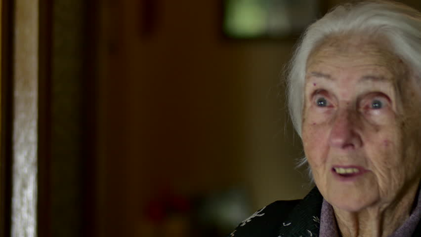 A Hundred Years Old Woman Talking To The Camera, Centenarian