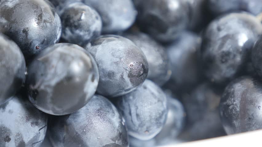 Close-up of European Vitaceae family grape on plate tilting 2160p 30fps UltraHD footage - Cluster fruit Vitis vinifera food background on white slow tilt 4K 3840X2160 UHD video