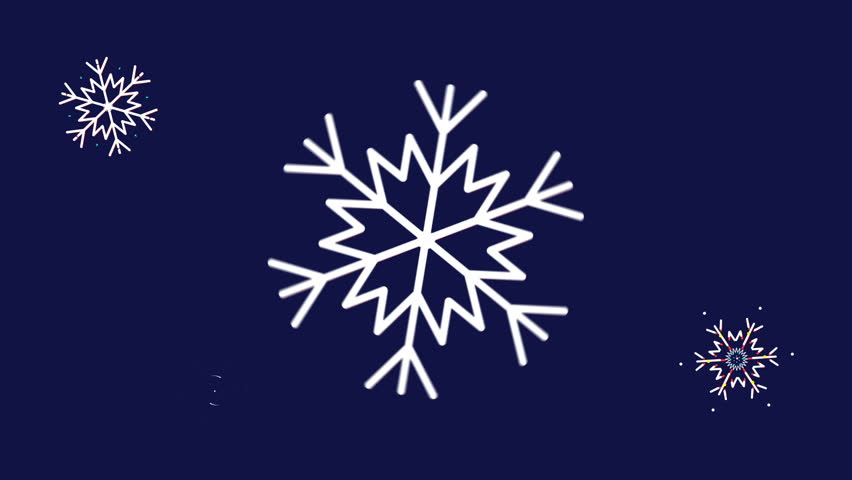 Animated snowflakes on a blue background, dynamically rotate. Animated snowflakes for the Christmas holiday.