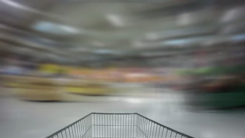Shopping cart fast motion timelapse in the supermarket