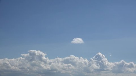 White fluffy sky moving on blue sky, timelapse different shapes imagination